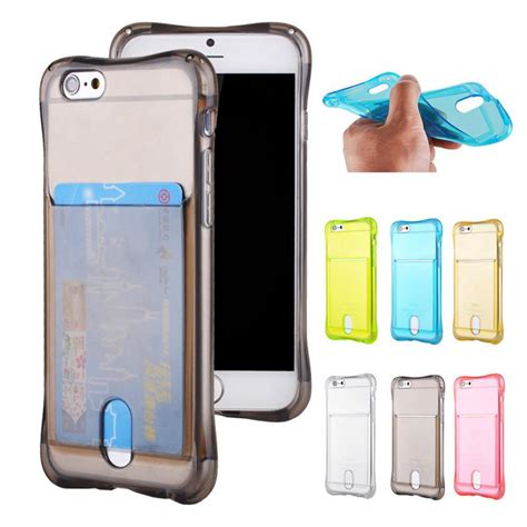 Soft Iphone 5g Ultrathin Lgt Tpu Transparan for iphone 6 6s plus ultrathin tpu card slot soft gel phone phone cases with card holder