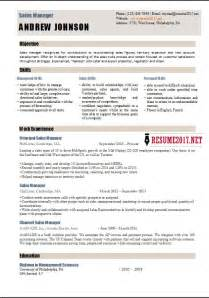 Resume Format For Sales Manager by Sales Manager Resume Template 2017