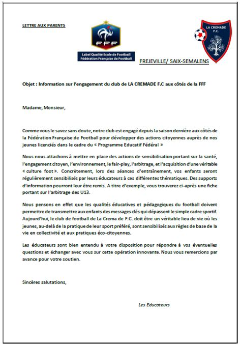 Exemple De Lettre Aux Parents Pef Lettre Aux Parents Club Football La Cremade F C Ecole De Foot Fr 233 Jeville Saix Semalens