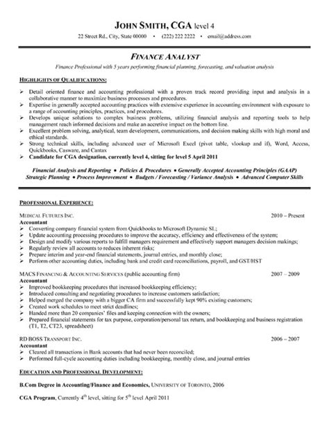 financial analyst resume sles best finance resume templates sles on