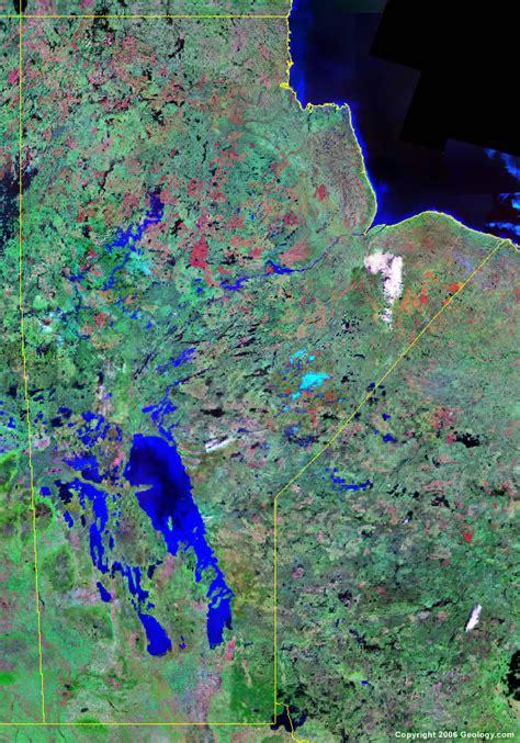 manitoba map satellite image roads lakes rivers cities