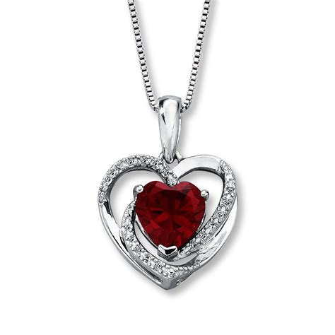lab created ruby necklace with diamonds sterling silver