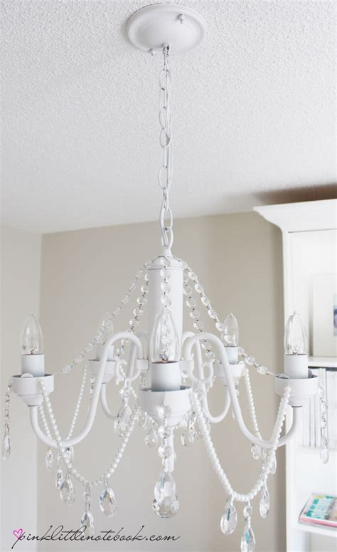 Diy Pearl Chandelier Hometalk Diy Before And After White Chandelier With Crystals And Pearls