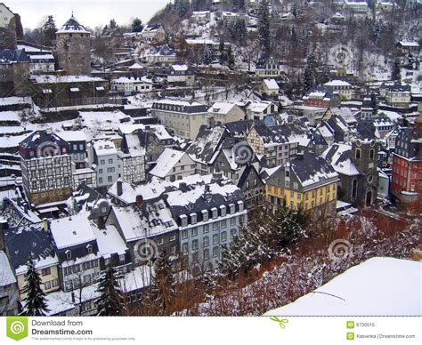 Small European House Plans rooftops winter monschau germany royalty free stock photo