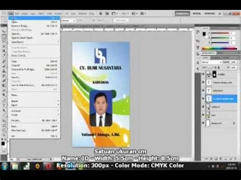 cara membuat id card nama tutorial photoshop membuat id card youtube