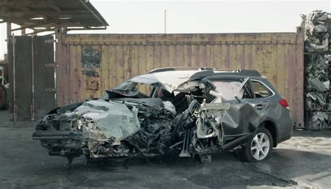 wrecked subaru intense subaru ad focuses almost entirely on one of its