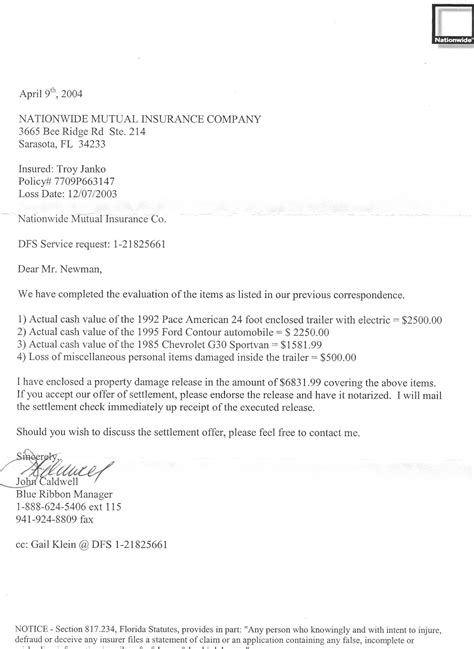 car accident settlement letter sample collection