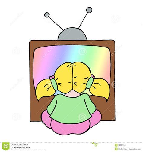 film cartoon girl young girl watching tv stock illustration illustration of