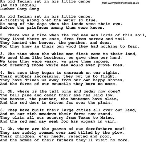 An American Song American Song Lyrics For An Indian Sat In His Canoe With Pdf