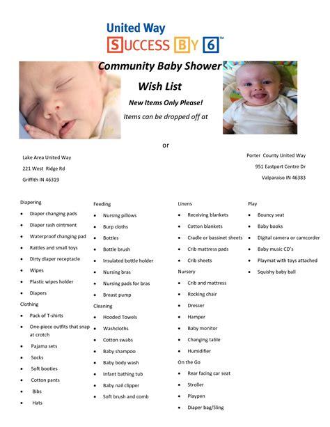 baby shower wish list sle baby shower wish list www awalkinhell www