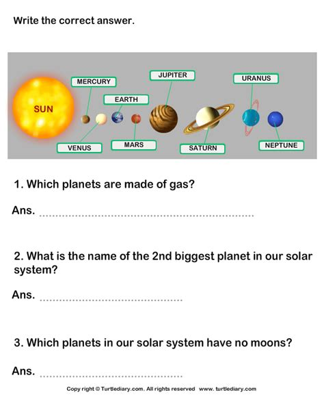 Solar System Worksheet by Questions On Solar System Worksheet Turtle Diary