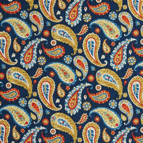 upholstery fabric prints b0490c blue red and gold large paisley print upholstery