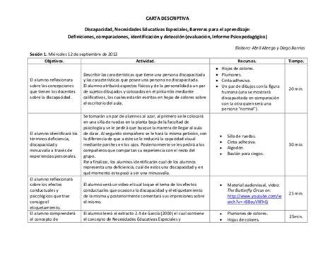 ejemplo de cartas descriptivas de educacion preescolar carta descriptiva nee