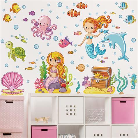 Wandtattoos Unterwasserwelt Kinderzimmer by Wandtattoo Kinderzimmer Meerjungfrau Unterwasserwelt Set