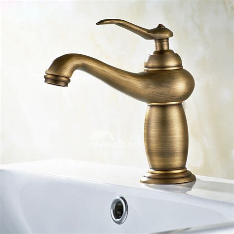 brushed gold bathroom faucet antique brass  hole single handle
