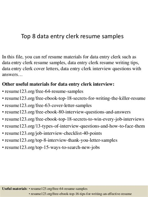 Free Sle Resume Data Entry Clerk Top 8 Data Entry Clerk Resume Sles