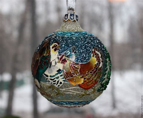 Handmade Balls Ornaments - glass with stained glass painted bird house