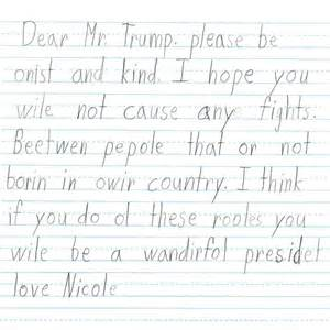 grade students wrote these letters to donald