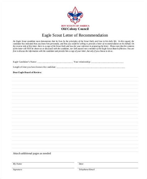 Recommendation Letter Initiative boy scout eagle letter of recommendation form docoments