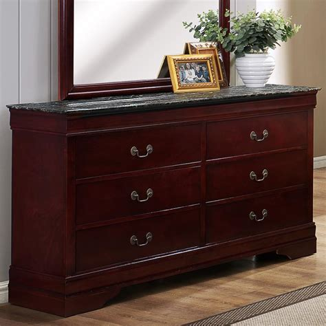 Dresser 6 Drawer Chest Antiqued Finish Faux Marble Top Bedroom | crown mark louis phillipe b3888 1mbl six drawer dresser