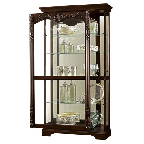 curio cabinet howard miller large cherry curio display cabinet mirror