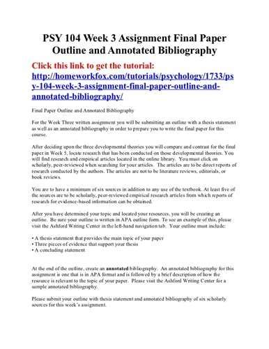bibliography research paper sle annotated outline research paper source