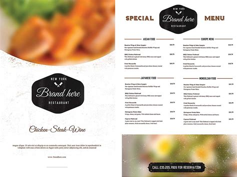 free menu design templates vintage food menu template free