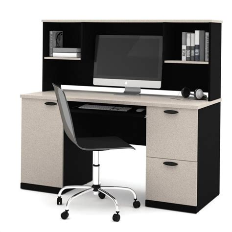 Bestar Hton Computer Desk With Hutch In Sand Granite Bestar Computer Desk
