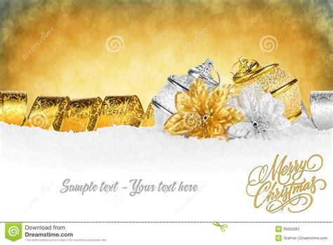 xmas card gold silver stock image image of ball night