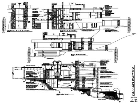 falling water section fallingwater house plans and section escortsea