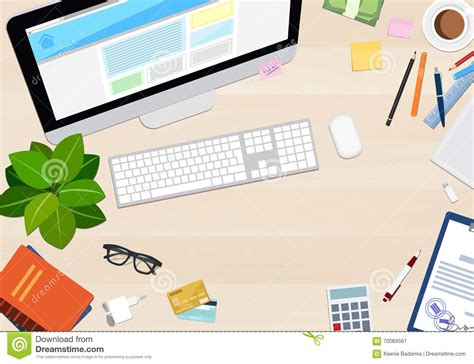 wallpaper computer shop desktop top view with different objects vector