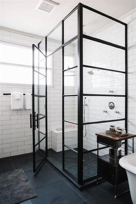 industrial shower door corner steel shower enclosure with black geometric floor tiles transitional bathroom