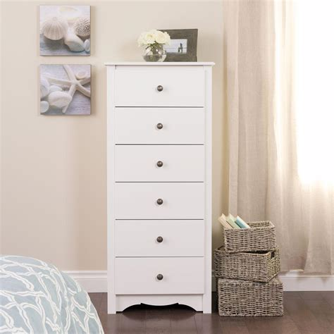 20 Inch Wide Chest Of Drawers Prepac Monterey 6 Drawer White Chest Wdc 2354 K The Home