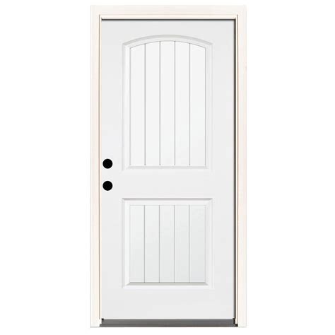 2 4 Exterior Door Steves Sons 36 In X 80 In Premium 2 Panel Plank Primed White Steel Prehung Front Door With