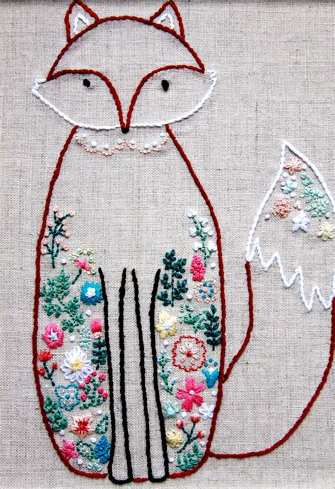 design for embroidery stitches francine the floral fox embroidery pattern fox