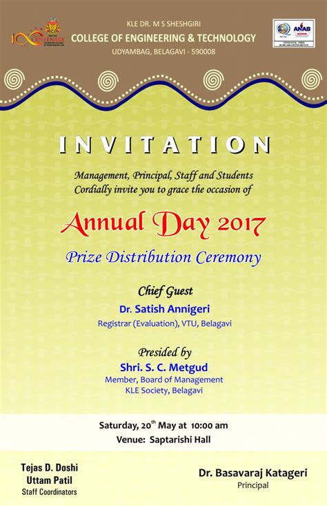 management principal staff  students cordially invite   grace  occasion  annual