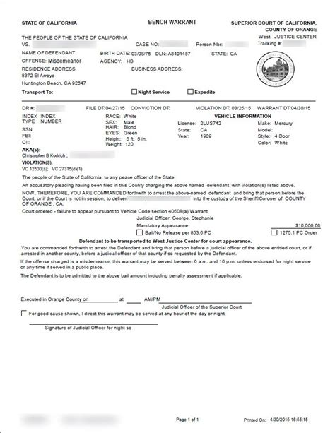 bench warent orange county bench warrant attorney arrest warrants