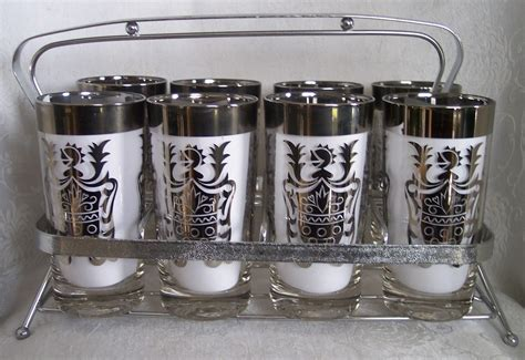 bar ware kimiko silver crest tumblers glasses mad men shield high