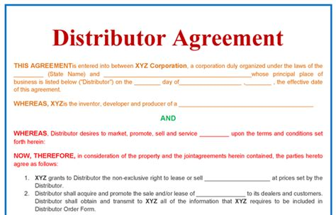 distributorship agreement template distributor agreement template