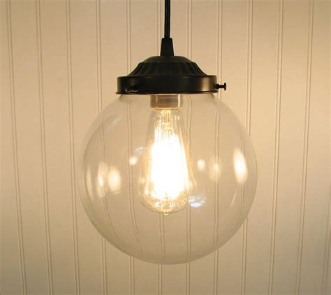 Clear Globe Pendant Light Biddeford Glass Pendant Light Large By Lgoods On Etsy