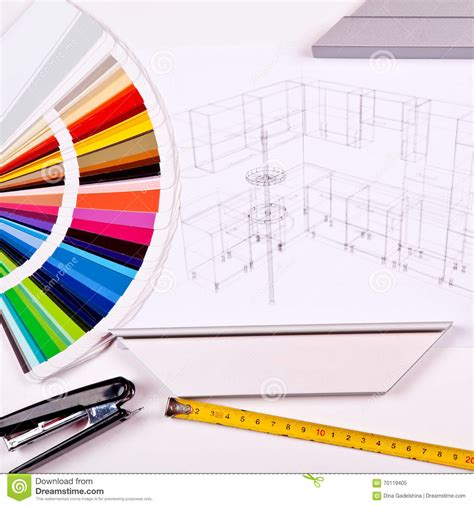 design concepts expert contractors the color palette and the drawing of kitchen design stock
