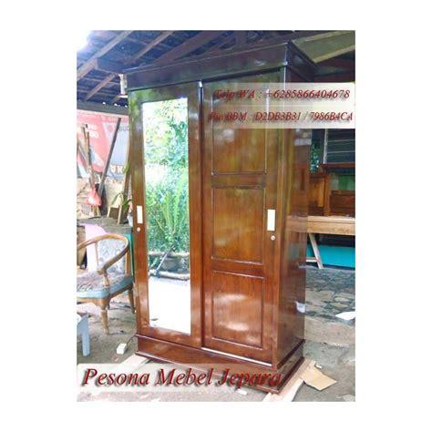 Lemari Kayu Pintu 2 almari lemari minimalis pintu 2 sliding cermin kayu jati