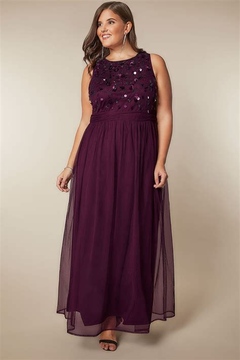 luxe purple bead sequin embellished maxi dress