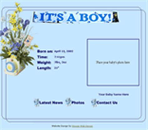Baby Web Templates Birth Announcement Templates Baby Web Site Templates It S A Boy It S A Girl Baby Boy Birth Announcement Template
