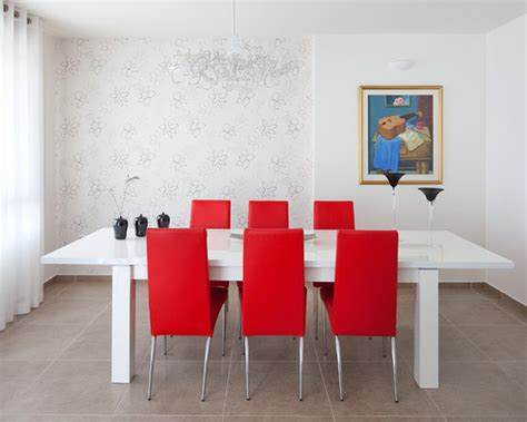 modern dining room white dining table paired with a