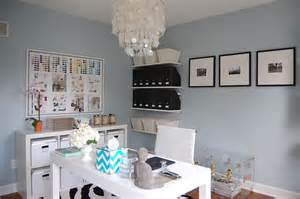 blue grey paint color contemporary den library office benjamin smoke