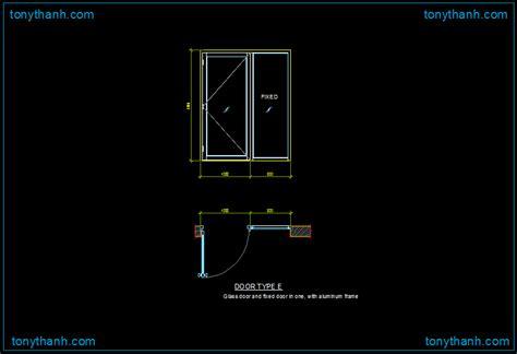 sliding door section dwg dwg drawing of glass sliding door with aluminum frame dwg