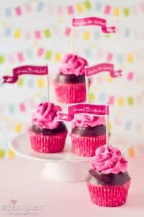 glittery pink birthday cupcakes