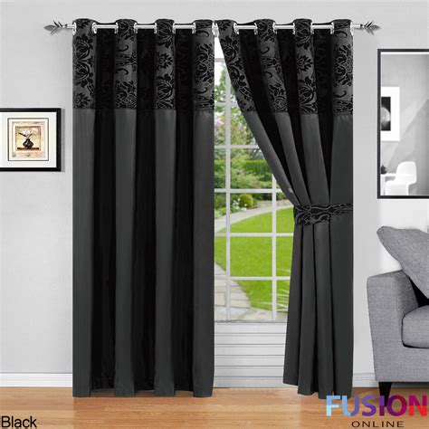 Black Damask Curtains Ring Top Fully Lined Pair Eyelet Ready Curtains Luxury Damask Curtain Ring Top Ebay
