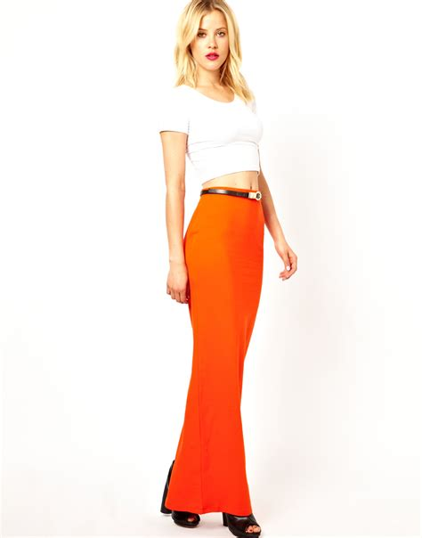 asos maxi skirt in orange lyst
